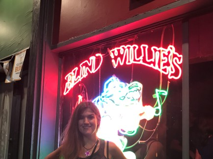 Emily in front of Blind Willie's